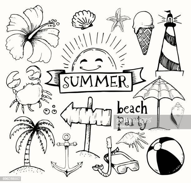 beach and summer vector ink doodles on white background - sport set competition round stock illustrations