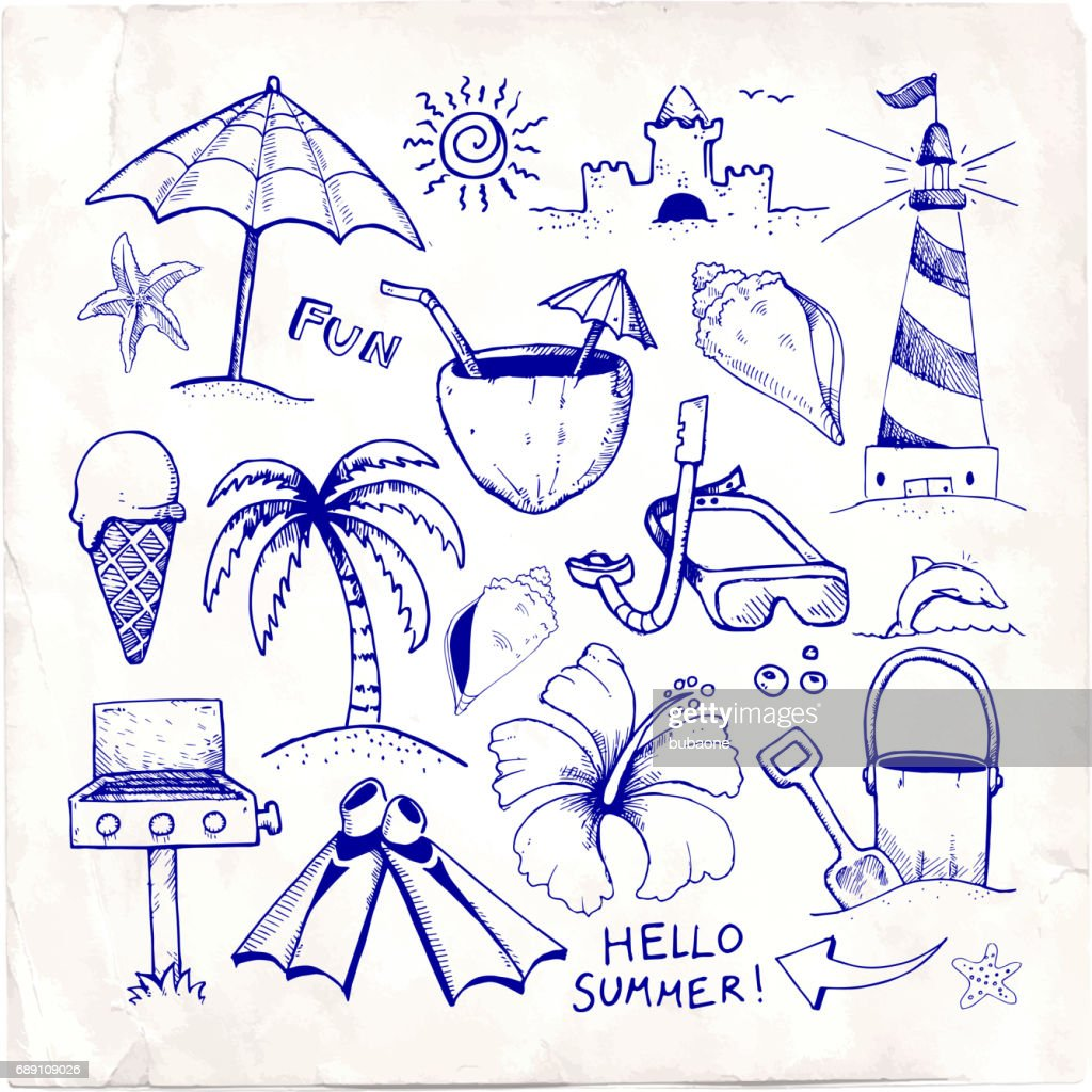 Beach and Summer Vector Pen Sketches on White Paper : Stock Illustration