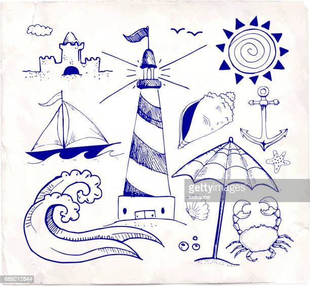 beach and summer vector pen sketches on white paper - sport set competition round stock illustrations