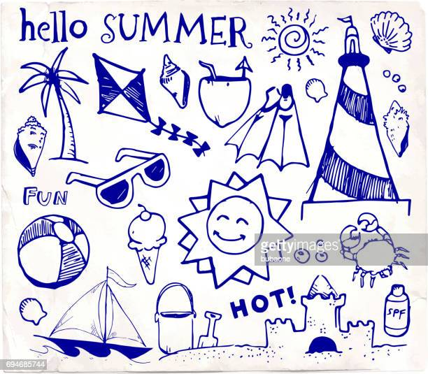 beach and summer vector pen sketches on white paper - icon collage stock illustrations