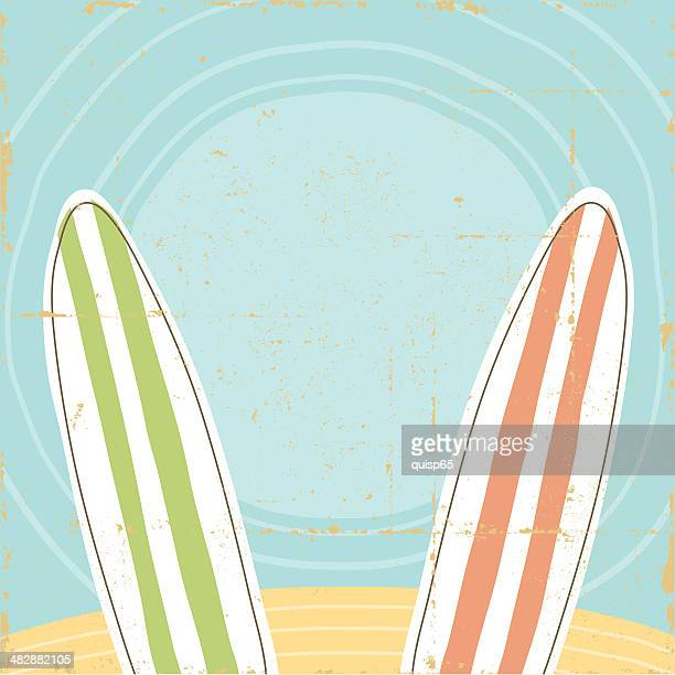 Beach and Surfboard Sign Vintage
