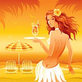 Beach background with beautiful hula girl and tropical cocktail