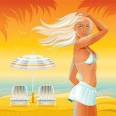 Beach background with beautiful tan girl