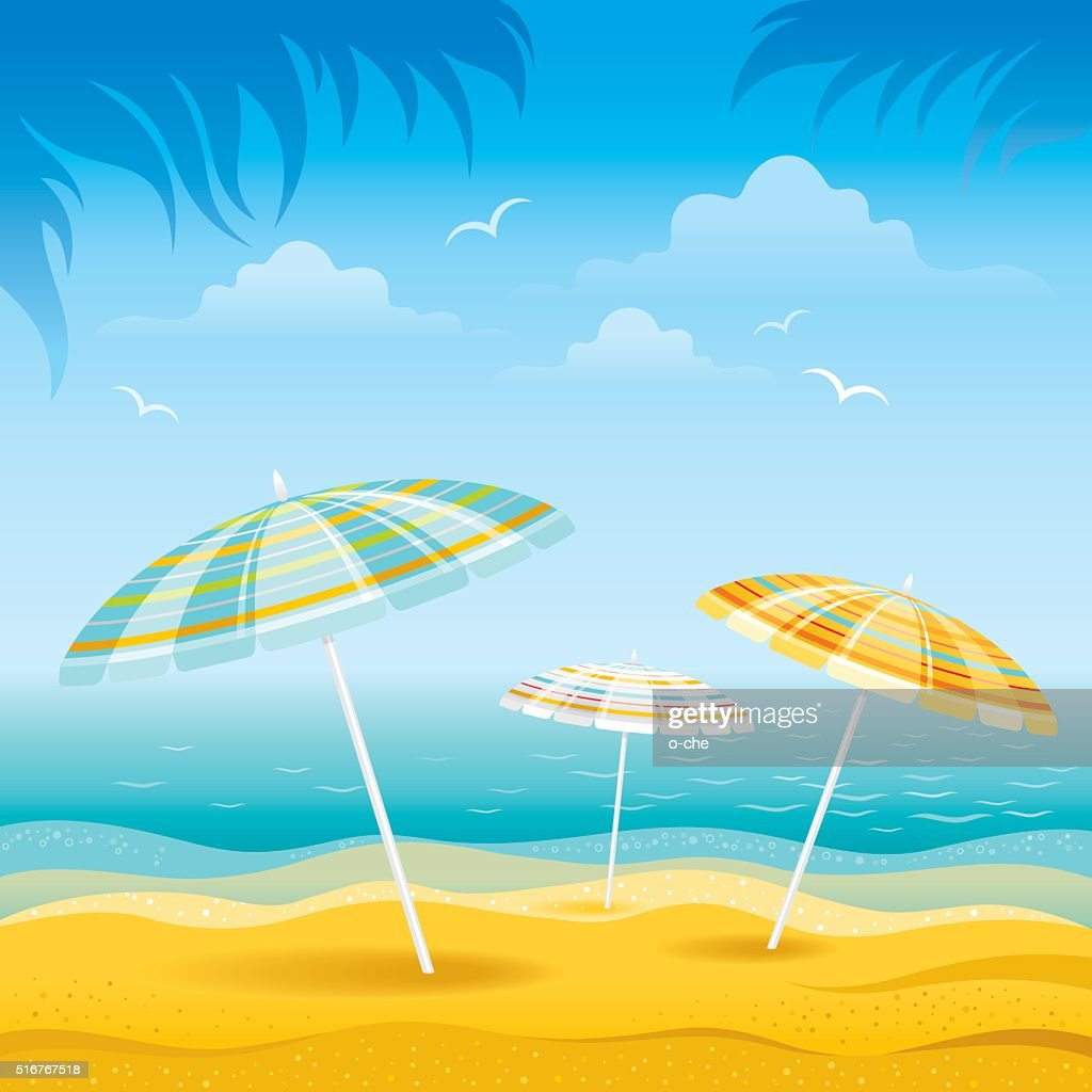 Beach background with umbrellas