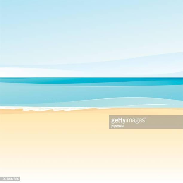 illustrations, cliparts, dessins animés et icônes de arrière-plans de la plage - paysage marin