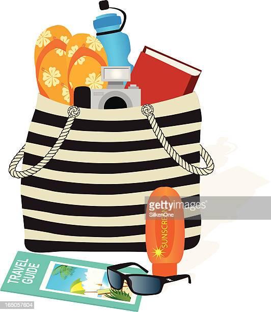 ilustrações, clipart, desenhos animados e ícones de bolsa de praia - livro de capa dura