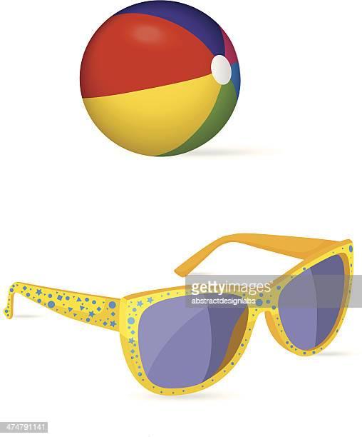 Beach ball and Sun glass