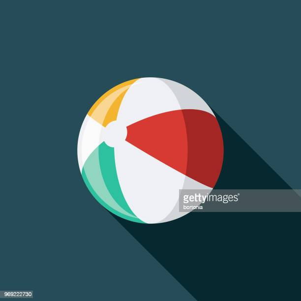 beach ball flat design summer icon with side shadow - sports ball stock illustrations
