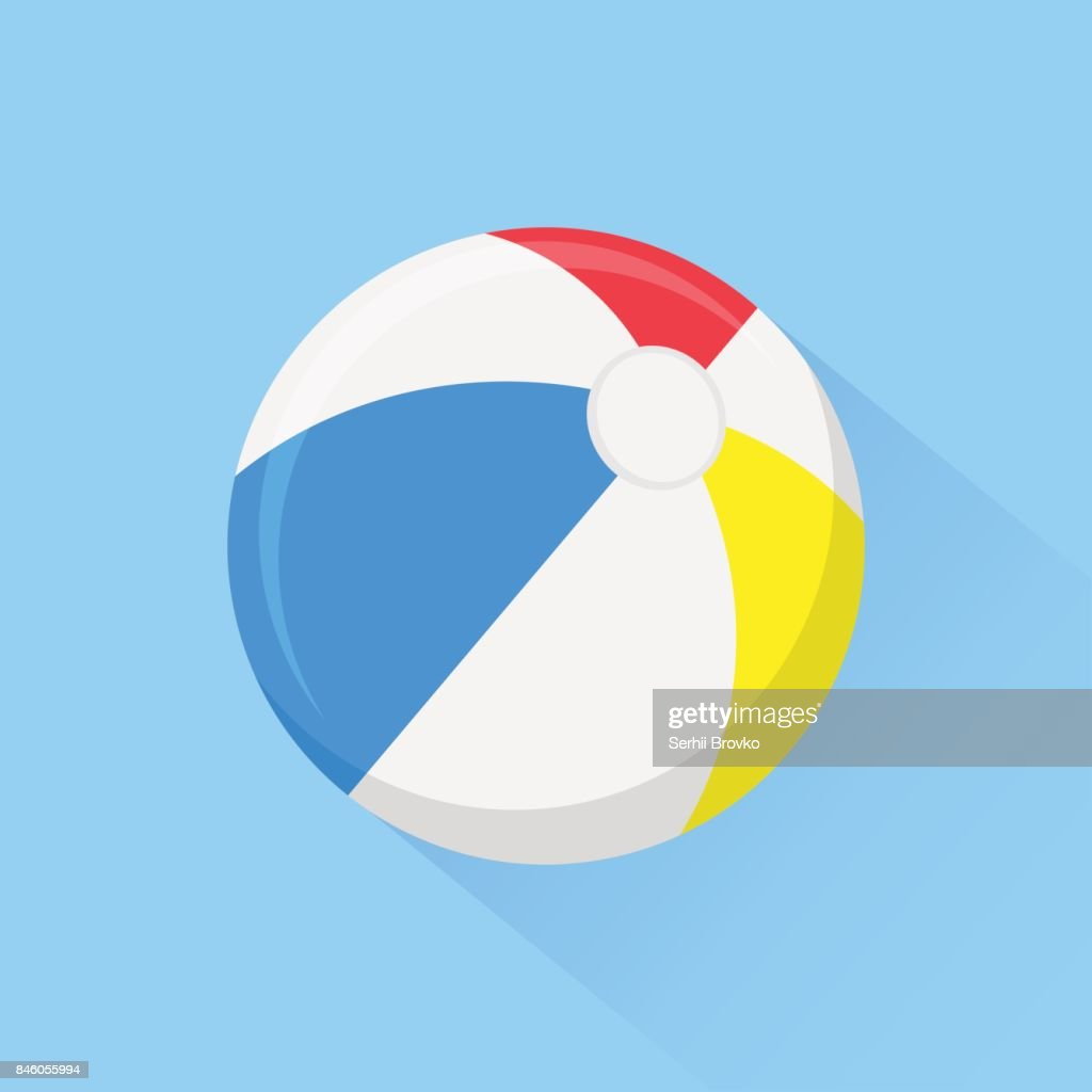 Beach ball flat icon with long shadow isolated on background. Vector illustration.