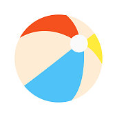 Beach ball flat style design vector illustration icon sign isolated on white background. Retro styled toy for summer games or holidays