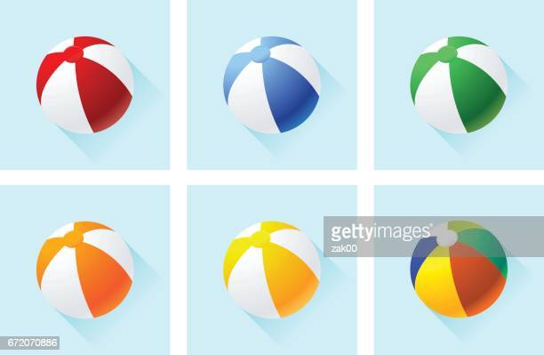 illustrazioni stock, clip art, cartoni animati e icone di tendenza di beach balls icon set - palla sportiva