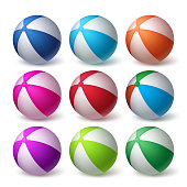 Beach Balls Vector Set in Colorful 3D Realistic Rubber