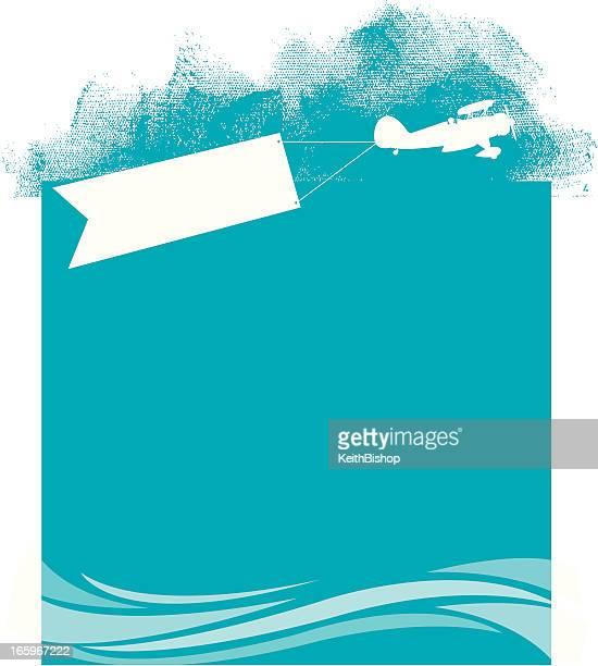 Plage avion bannière fond-Transport aérien