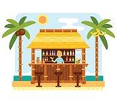 Beach bar and barmen