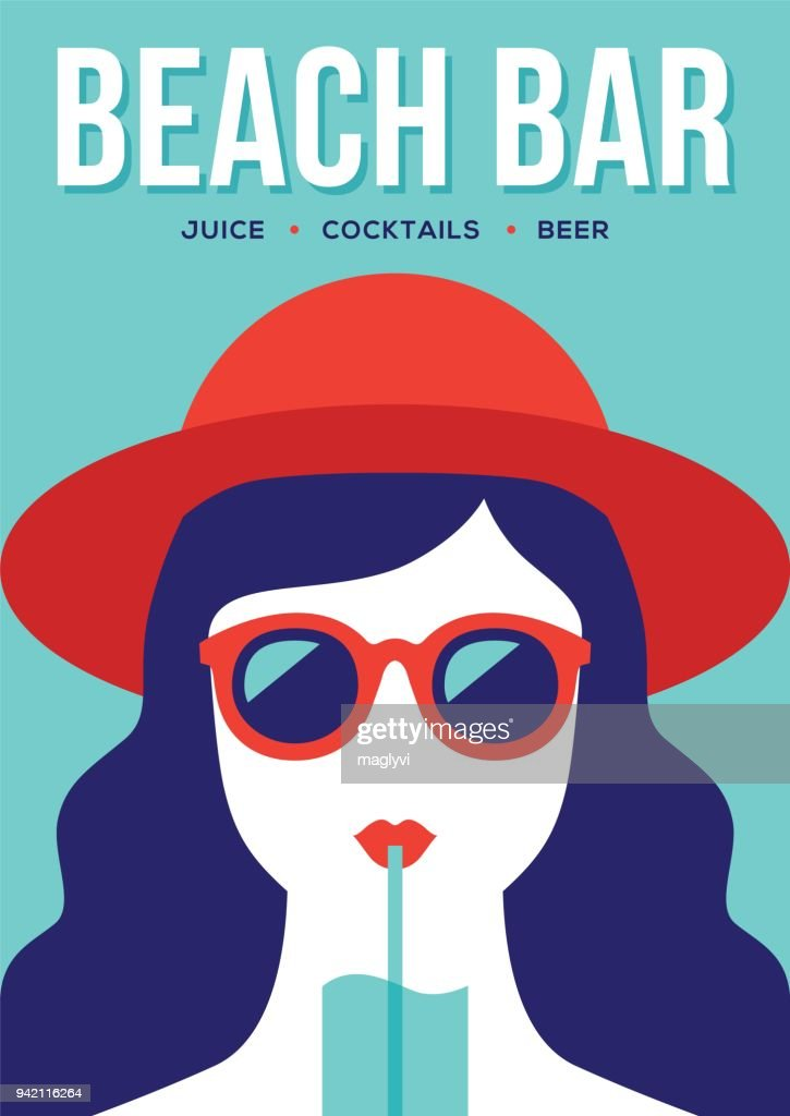 Beach bar banner with girl drinking cocktail.