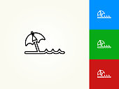 Beach Black Stroke Linear Icon