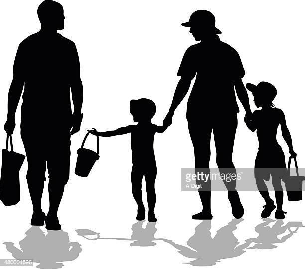 Beach Bound Family Silhouette