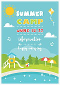 Beach Camp or Club for Kids. Summer Poster Vector Template