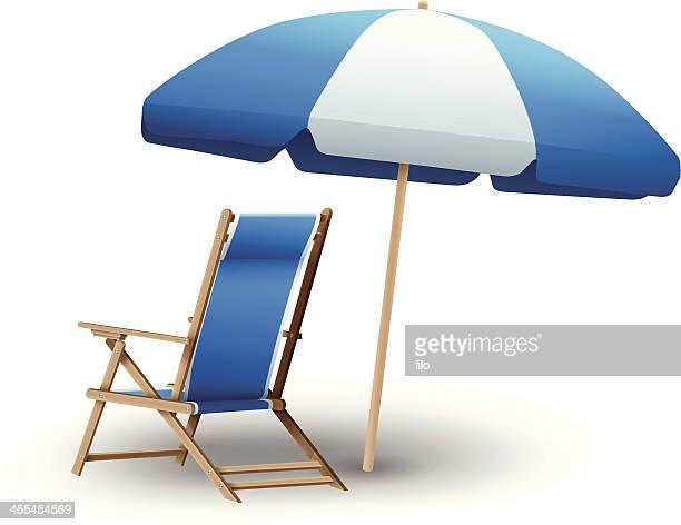 beach chair and umbrella - beach holiday stock illustrations, clip art, cartoons, & icons