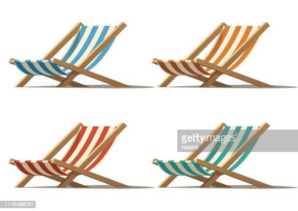 ilustrações, clipart, desenhos animados e ícones de cadeira de praia - cadeira recostável