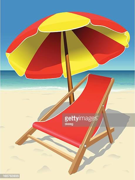 illustrations, cliparts, dessins animés et icônes de chaise de plage - chaise longue
