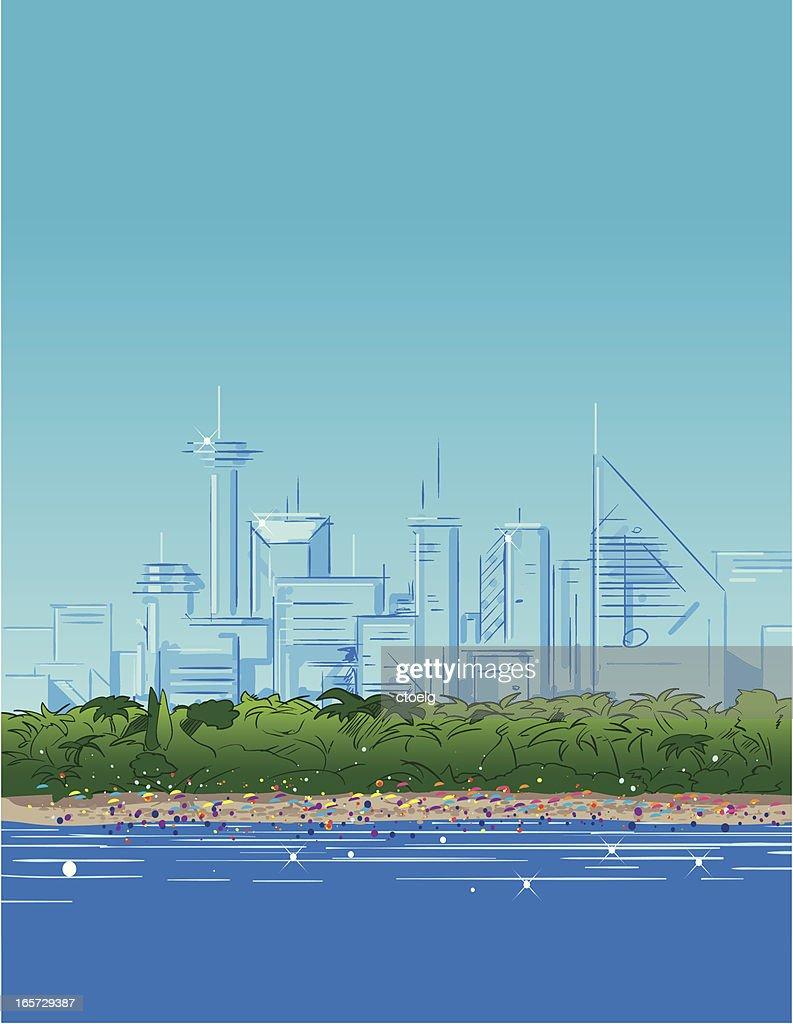 beach city : stock illustration