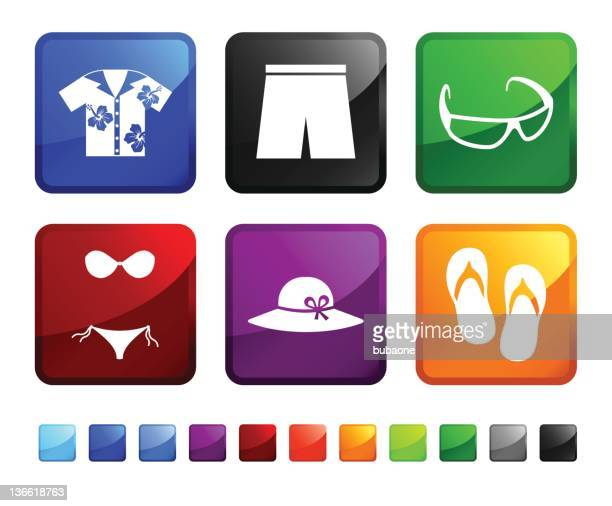 beach clothes and accessories royalty free vector icon set stickers - hawaiian shirt stock illustrations
