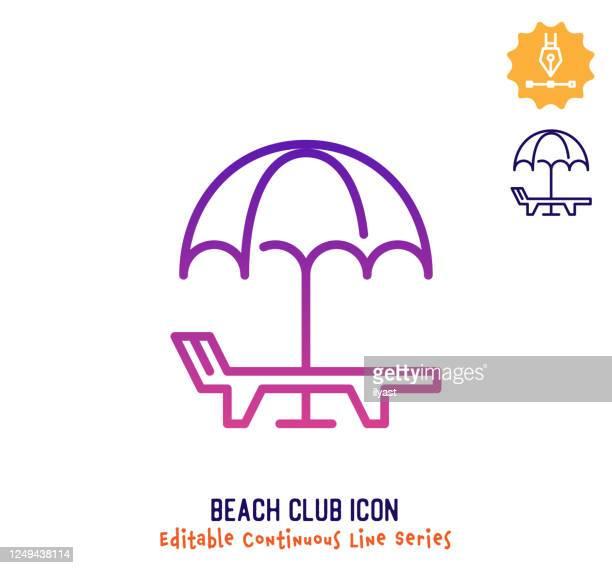 illustrations, cliparts, dessins animés et icônes de icône d'édition de la ligne continue beach club - être à l'ombre