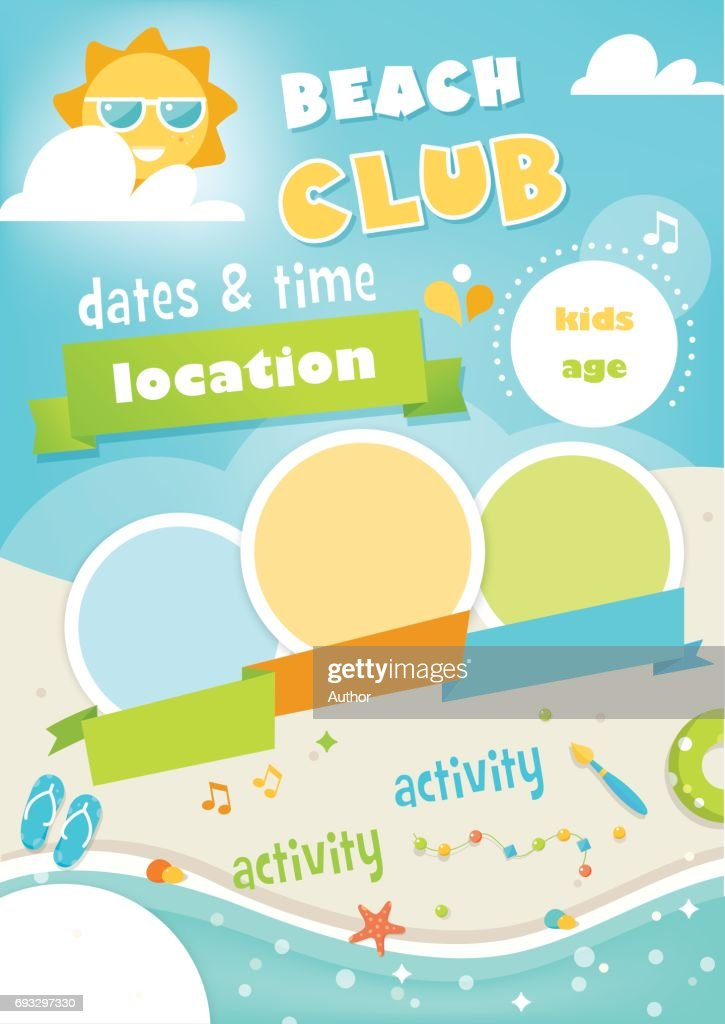 Beach Club or Camp for Kids. Summer Poster Vector Template