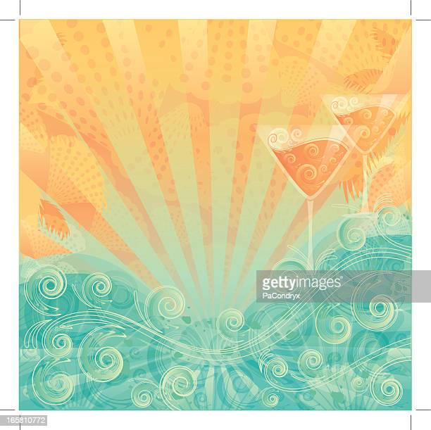 beach cocktail background - juice drink stock illustrations, clip art, cartoons, & icons