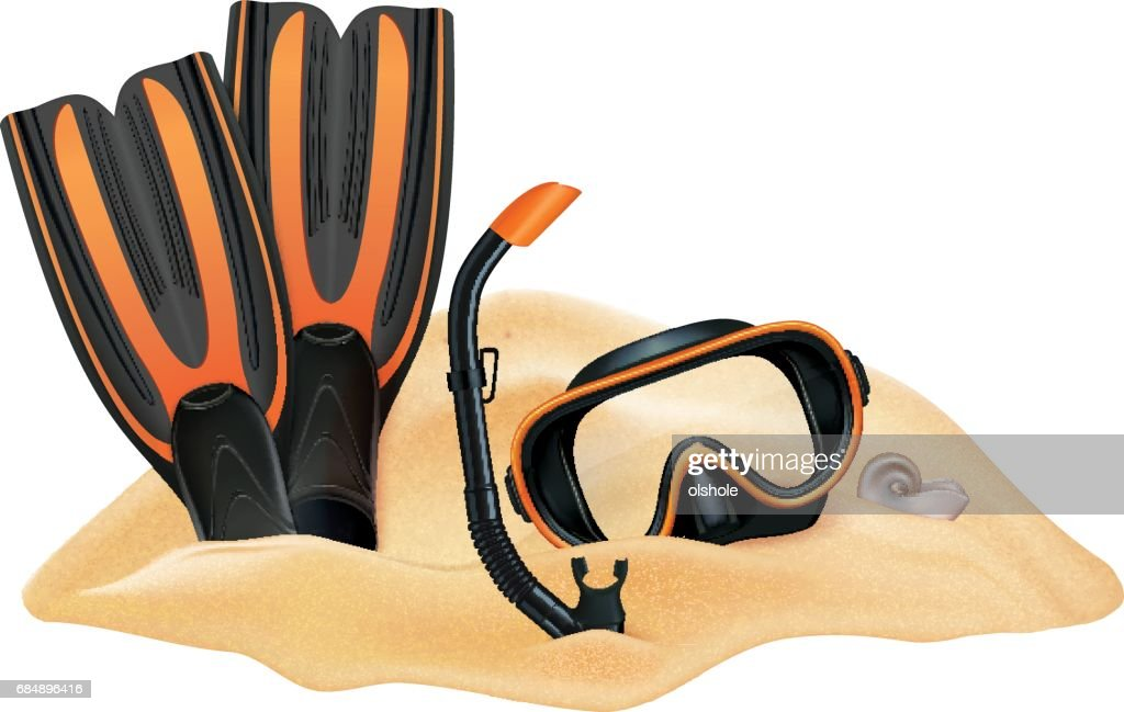 Beach composition. Sand, dive mask, snorkel, flippers. Vector illustration
