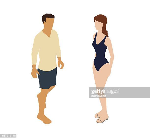 beach couple spot illustration - mathisworks stock-grafiken, -clipart, -cartoons und -symbole