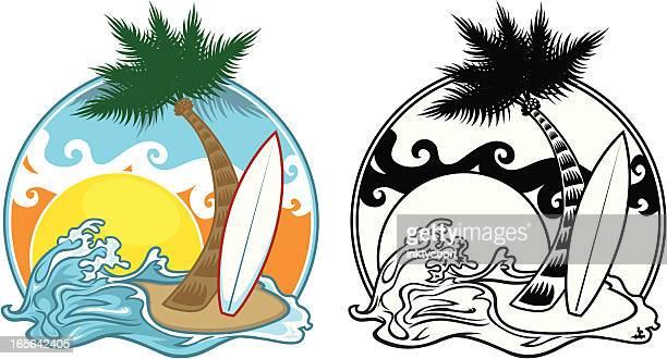 ilustraciones, imágenes clip art, dibujos animados e iconos de stock de diseño de playa - tabla de surf