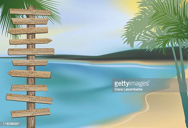 beach directional sign - directional sign stock illustrations