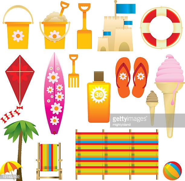 beach equipment - windbreak stock illustrations