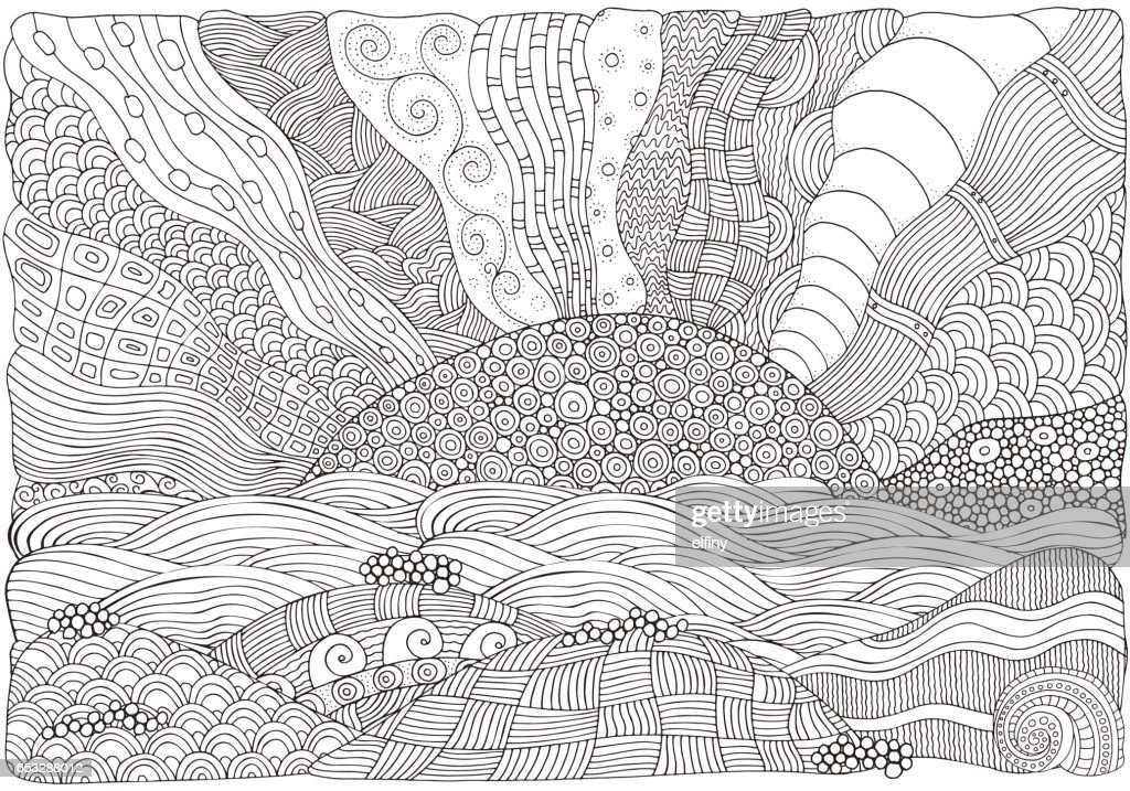 Beach, facing out to sea. Coloring book