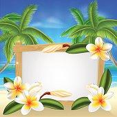 Beach frangipani beach summer sign