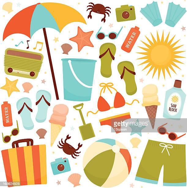 illustrations, cliparts, dessins animés et icônes de loisirs sur la plage - seau