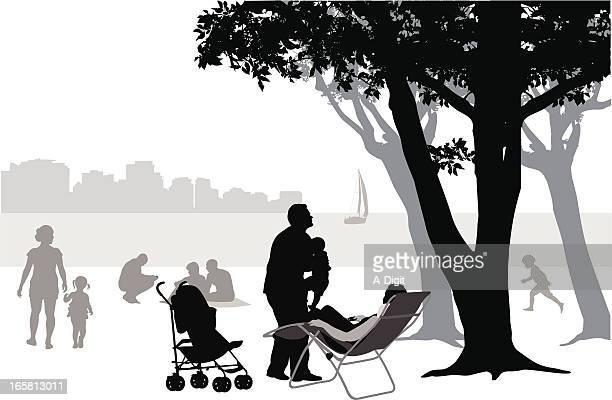 beach fun vector silhouette - blanket stock illustrations, clip art, cartoons, & icons