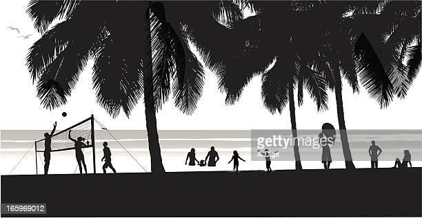 ilustraciones, imágenes clip art, dibujos animados e iconos de stock de beachfun - vóleibol de playa
