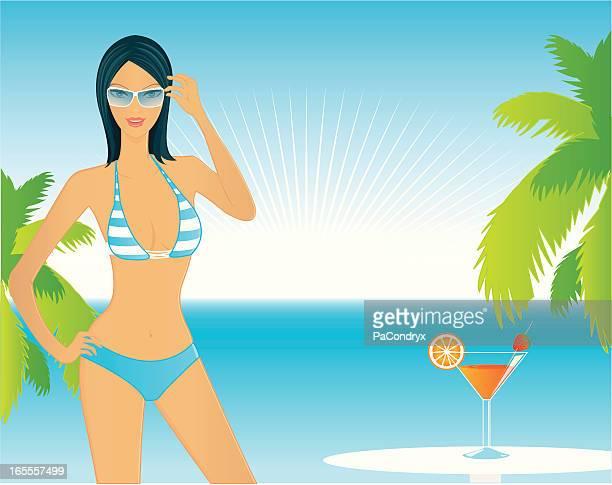 ilustrações de stock, clip art, desenhos animados e ícones de praia menina cocktail - mulher fatal