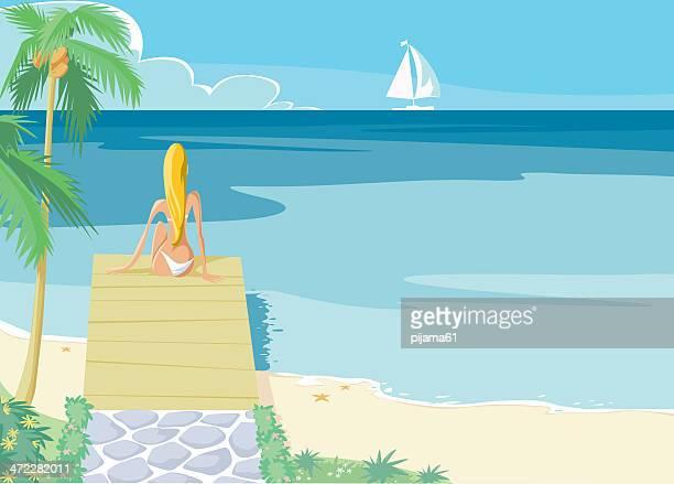 beach girl - beach holiday stock illustrations, clip art, cartoons, & icons