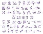 Beach handdrawn icons set