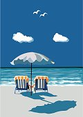 Beach, happy couple sitting on deck chairs, under umbrealla, on vacation, vector