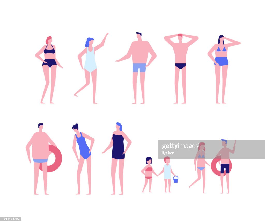 Beach holiday - flat design style set of isolated characters
