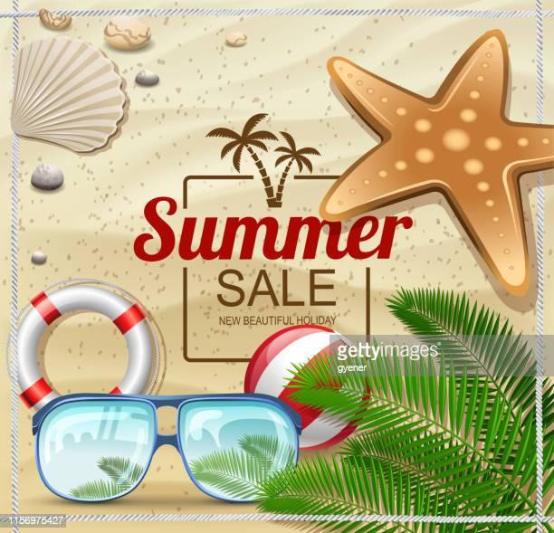 ilustrações, clipart, desenhos animados e ícones de frame do feriado da praia - labeling
