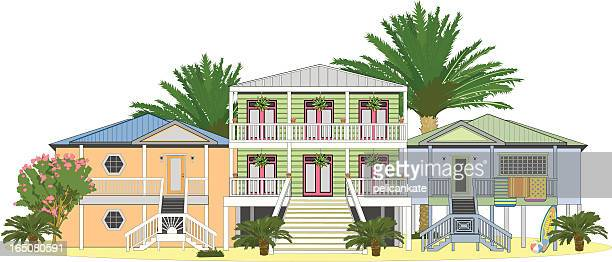 beach houses - bungalow stock illustrations, clip art, cartoons, & icons