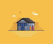 Beach Hut House at Seaside Background