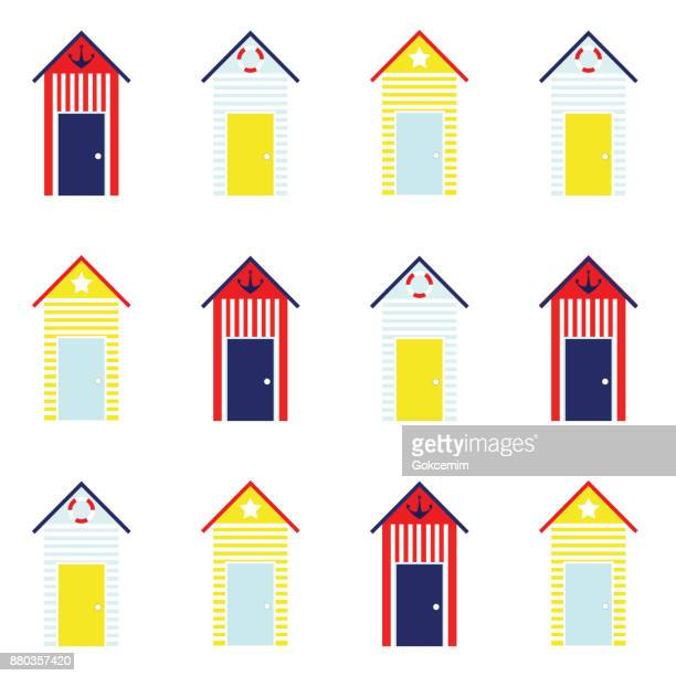 beach hut seamless pattern - hut stock illustrations