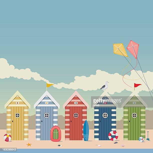 illustrations, cliparts, dessins animés et icônes de cabanes de plage - planche de surf